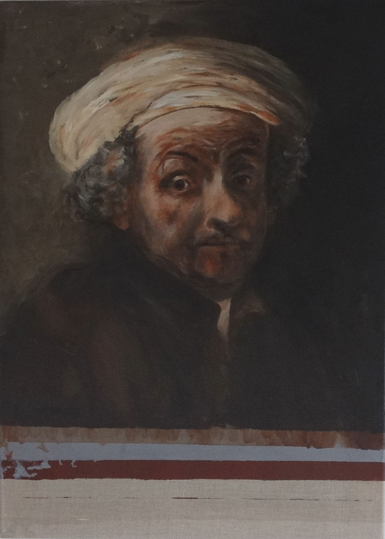 Zelfportret als de apostel Paulus, naar Rembrandt.