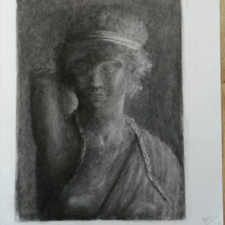 Art class assignment drawing with an eraser. Drawn from a steel cast statue, I think it's Diana.   #drawing #charcoal #art #sketching #academicdrawing #drawingaday #klassiekeacademie