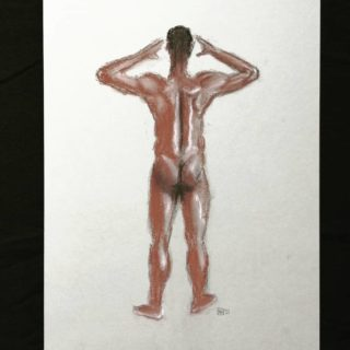 Study in brown, black and white conte on Grey paper for model class . . . #drawing #sketching #academicdrawing #drawingaday #anatomy #butt #klassiekeacademie #nude #realism #realisticdrawings #modeldrawing #blackpeople #academia
