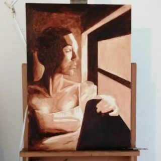 The underpainting fase I find very satisfying as a new work starts to emerge. Starting up this new piece today, from my daughter-in-law sitting in the window.  . . . #art #oilpainting #oilonboard #underpainting #realisticpainting #realism #fineart #klassiekeacademie
